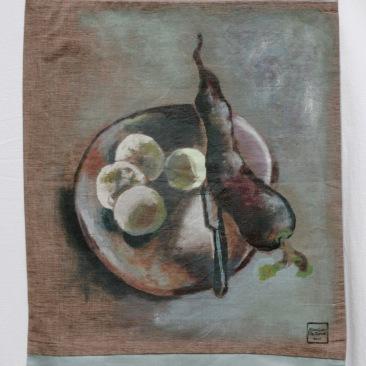 """VENDU - tenture """"radis noir"""" 45x70cm -peinture à la main sur toile rugueuse foncée, doublée de coton bleu gris - 85€"""