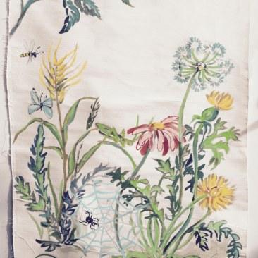 « sauterelle et araignée » 70x150 cm – toile de coton épaisse – 200€