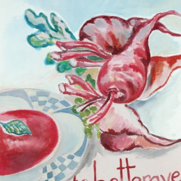 """VENDU - tenture """"soupe betterave"""" 45x70cm -peinture à la main sur toile de coton écru, doublée de toile rouge foncé - 85€"""