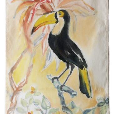 « toucan » 45x70 cm – toile de coton sergé – 75€