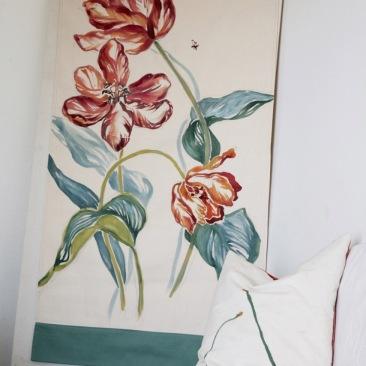 « tulipes bigarées » 70x150 cm – toile de coton métis écru – 150€
