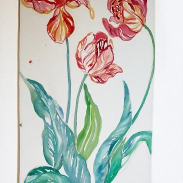 « tulipes bigarrées » 70x150 cm – toile de coton épaisse – 150€